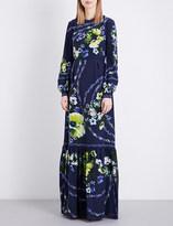 Erdem Hasu Night-print silk-crepe gown