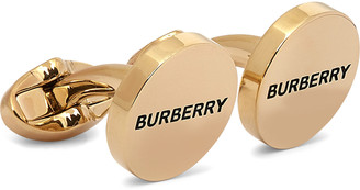 Burberry Logo-Engraved Gold-Plated and Enamel Cufflinks - Men - Gold