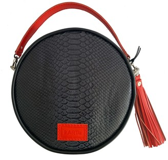 Kartu Studio Natural Leather Cross Body Bag Clutch Muscat - Black Snake Print/Red Detail