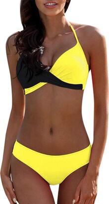 Kaister Swimwear Ladies Bikini Sets Push Up Padded Bra Patchwork Split 2 Pieces Swimsuit Suit Beachwear Gray