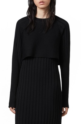 AllSaints Tarun Long Sleeve Merino Wool Sweater Dress