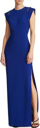 Theia Jewel-Neck Flange-Sleeve Crepe Gown w/ Side Slit