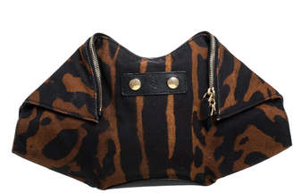 Alexander McQueen Black/Brown Leopard Print Canvas Medium De Manta Clutch