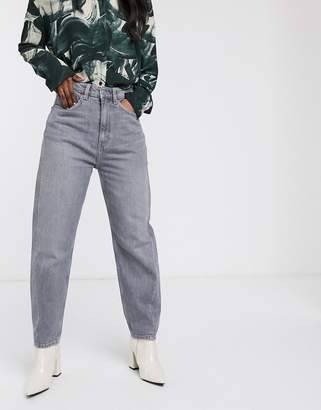 Weekday Meg tapered leg jeans with twisted seam in grey