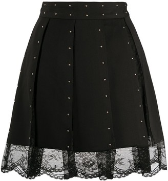 Liu Jo Lace-Insert Pleated Mini Skirt