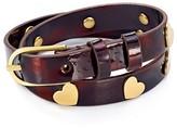 Tory Burch Metal Hearts Leather Wrap Bracelet