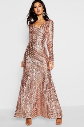 boohoo Boutique Sequin Long Sleeve Maxi Bridesmaid Dress