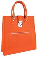 L.a.p.a. Front Zip Calf Leather Large Tote Handbag