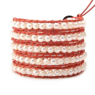 Victoria Emerson Freshwater Pearls on Metallic Red