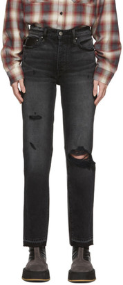 Amiri Black Leather and Denim Cropped Straight Jeans