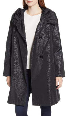 Gallery Leopard Print A-Line Water Repellent Raincoat