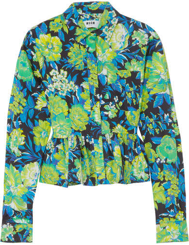 MSGM Ruffled Floral-print Cotton Shirt - Green