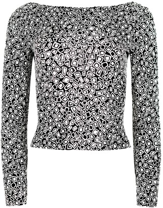 Blonde Gone Rogue Twisted Back Blouse In Black & White