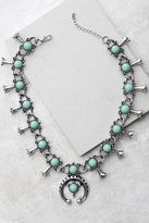 LuLu*s Desert Blossoms Turquoise and Silver Necklace
