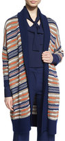 Diane von Furstenberg Taletha Striped Ribbed-Trim Sweater, Midnight/Orange/Khaki