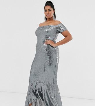 Club L London Plus bardot ruffle hem maxi dress-Gray