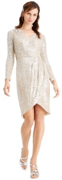 Calvin Klein Sequined Faux-Wrap Dress