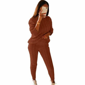 Topeno TOPEREUR Loungewear Chunky Cable Knitted Tracksuit Leisure Casual Sweatsuit for Women Solid Color Warm Top and Bottom 2PCS Sportwear Outfit