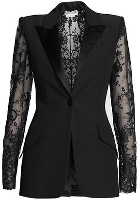 Alexander McQueen Crepe Lace Suit Jacket