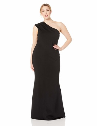 Dress the Population Women's Size Eva One Shoulder Cap Sleeve Long Maxi Gown Dress Plus
