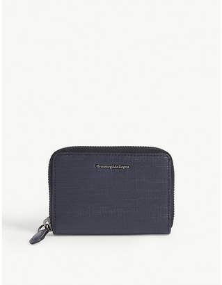 Ermenegildo Zegna Logo leather zip wallet