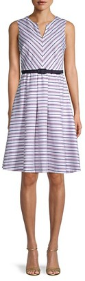Karl Lagerfeld Paris Belted Stripe A-Line Dress