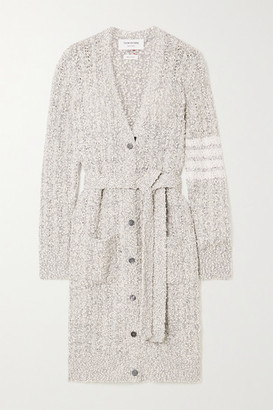 Thom Browne Belted Cotton-blend Boucle Cardigan - Light gray