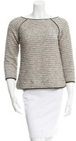 Veronica Beard Leather-Trimmed Tweed Top