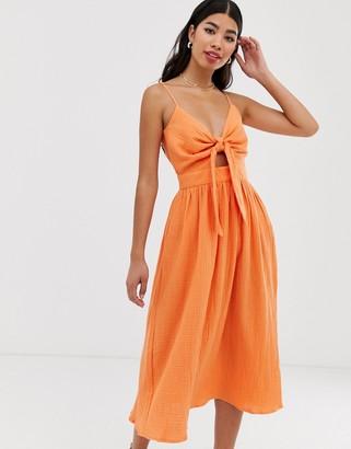 Pimkie tie front sundress in orange