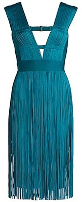 Herve Leger Cutout Deep V-Neck Fringe Sheath Dress