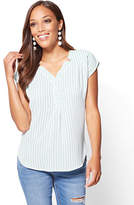 New York & Co. Soho Soft Shirt - Hi-Lo Split-Neck Blouse - Stripe