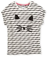 Karl Lagerfeld Textured Choupette Stretch Jersey Tee, White, Size 12-16