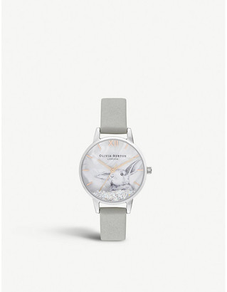 Olivia Burton Winter Wonderland stainless steel and leather watch