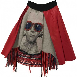Pinko Red Leather Skirt for Women
