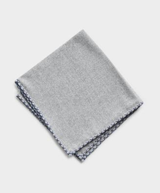 Mungai Cotton Flannel Pocket Square in Light Grey