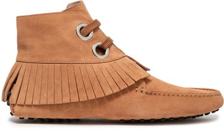 Tod's Fringe-trimmed Suede Ankle Boots