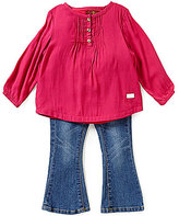 7 For All Mankind Baby Girls 12-24 Months Textured Woven Pintucked Top and Flare-Leg Denim Jeans