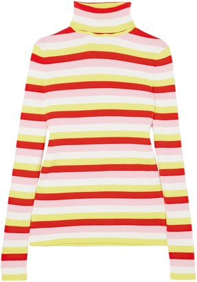 La Ligne Ribbed Striped Stretch-cotton Turtleneck Top