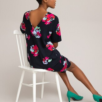 La Redoute Collections Printed Shift Dress with Crew Neck and Short Sleeves