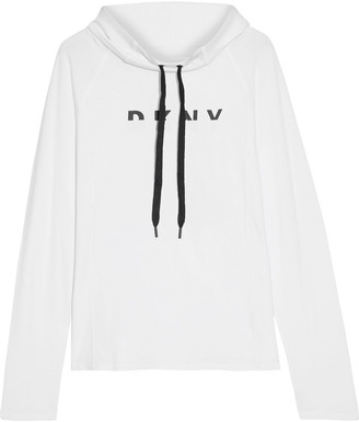 DKNY Printed Stretch Cotton And Modal-blend Jersey Hoodie