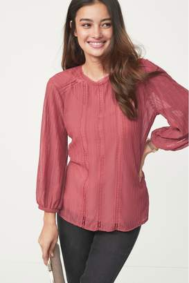 Next Womens Pink Lace Trim Top - Pink