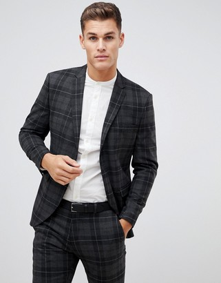 Selected Grey Check Suit Jacket With Patch Pockets In Slim Fit