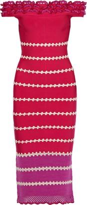 Herve Leger Off-the-shoulder Paneled Crochet And Bandage Midi Dress