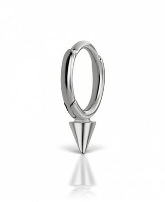 Maria Tash 6.5mm Non-Rotating Spike Single Hoop Earring - White Gold
