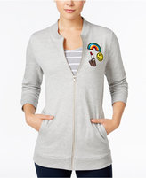 Almost Famous Juniors' Patch-Trim Tunic Bomber Jacket