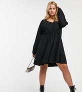 Asos DESIGN Curve long sleeve smock dress with drawstring waist