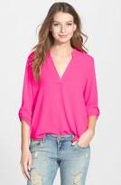 Lush Women's Roll Tab Sleeve Woven Shirt
