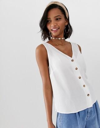 ASOS DESIGN button through vest in crinkle