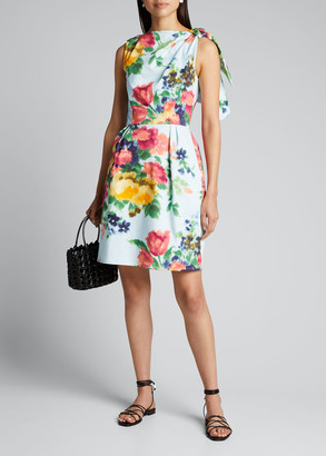 Carolina Herrera Floral-Print Poplin Bow-Shoulder Dress
