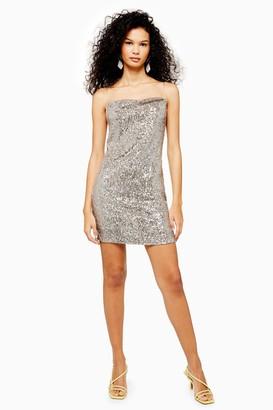 Topshop Womens Silver Sequin Cowl Mini Dress - Silver